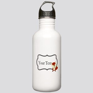 Personalizable Red Fox on Black Water Bottle