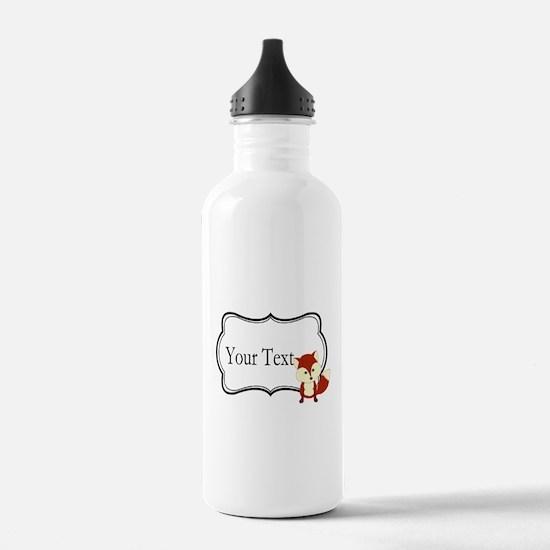 Personalizable Red Fox on Black Water Bottle