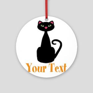 Personalizable Orange Black Cat Round Ornament