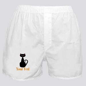 Personalizable Orange Black Cat Boxer Shorts