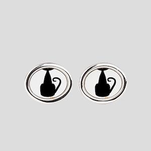 Personalizable Orange Black Cat Oval Cufflinks