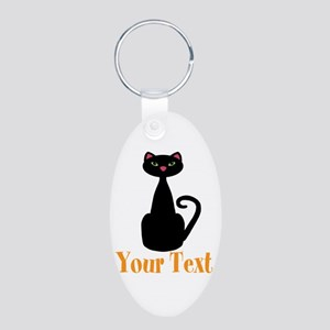 Personalizable Orange Black Cat Keychains