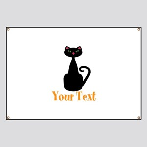 Personalizable Orange Black Cat Banner