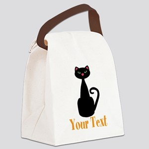 Personalizable Orange Black Cat Canvas Lunch Bag