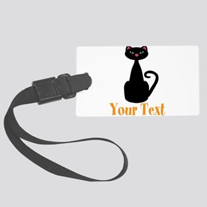 Personalizable Orange Black Cat Luggage Tag