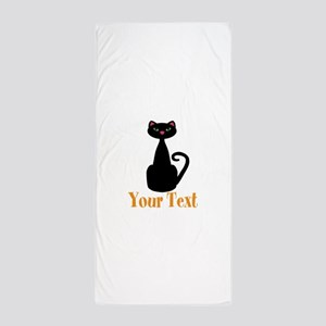 Personalizable Orange Black Cat Beach Towel