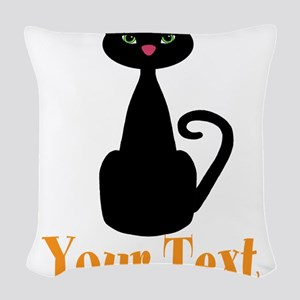 Personalizable Orange Black Cat Woven Throw Pillow
