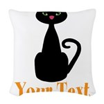 Personalizable Orange Black Cat Woven Throw Pillow