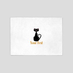 Personalizable Orange Black Cat 5'x7'Area Rug