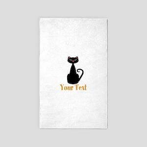 Personalizable Orange Black Cat Area Rug