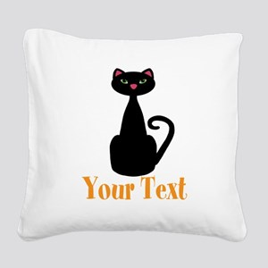 Personalizable Orange Black Cat Square Canvas Pill