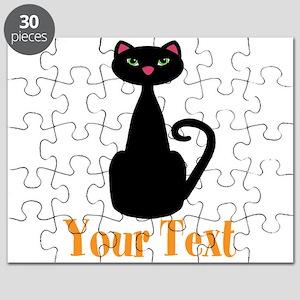 Personalizable Orange Black Cat Puzzle
