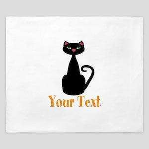Personalizable Orange Black Cat King Duvet