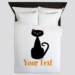 Personalizable Orange Black Cat Queen Duvet