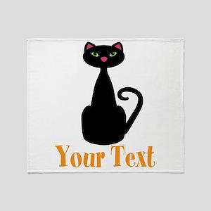 Personalizable Orange Black Cat Throw Blanket