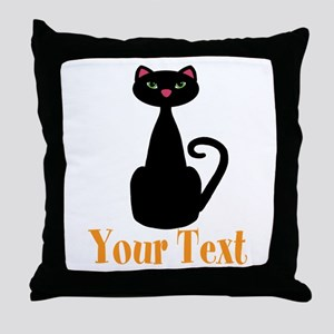 Personalizable Orange Black Cat Throw Pillow