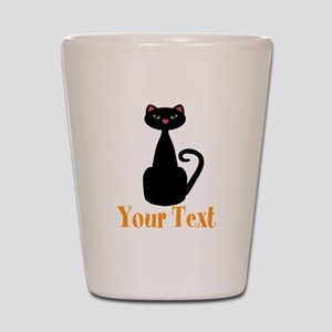 Personalizable Orange Black Cat Shot Glass