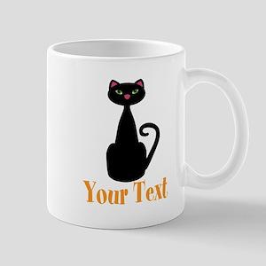 Personalizable Orange Black Cat Mugs