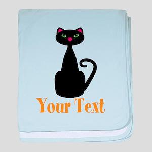 Personalizable Orange Black Cat baby blanket