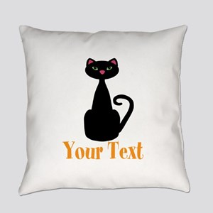 Personalizable Orange Black Cat Everyday Pillow