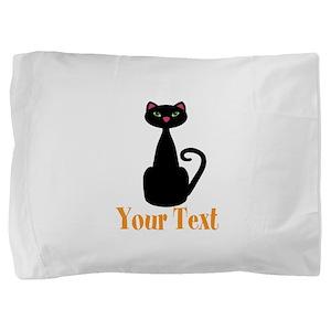 Personalizable Orange Black Cat Pillow Sham