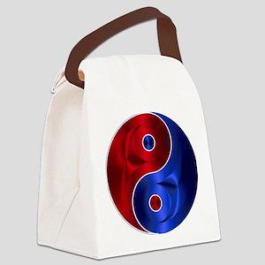 Metallic Red & Blue Yin & Yang Canvas Lunch Bag