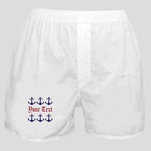 Personalizable Red and Navy Anchors Boxer Shorts