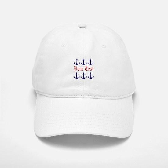 Personalizable Red and Navy Anchors Baseball Baseball Baseball Cap