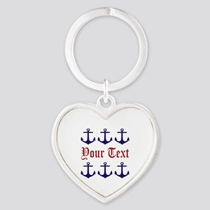 Personalizable Red and Navy Anchors Keychains