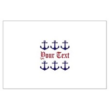Personalizable Red and Navy Anchors Posters