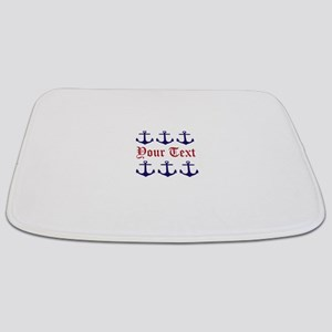Personalizable Red and Navy Anchors Bathmat