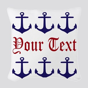 Personalizable Red and Navy Anchors Woven Throw Pi