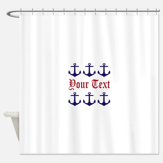 Personalizable Red and Navy Anchors Shower Curtain