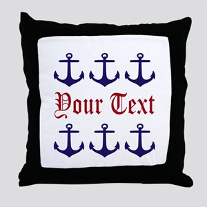 Personalizable Red and Navy Anchors Throw Pillow