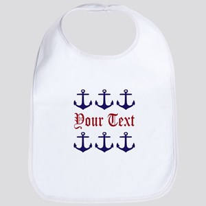Personalizable Red and Navy Anchors Baby Bib