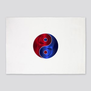 Metallic Red & Blue Yin & Yang 5'x7'Area Rug