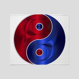 Metallic Red & Blue Yin & Yang Throw Blanket
