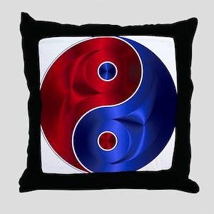 Metallic Red & Blue Yin & Yang Throw Pillow