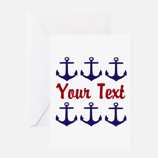 Personalizable Red and Blue Anchors Greeting Cards