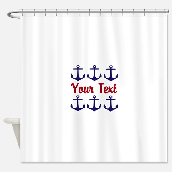 Personalizable Red and Blue Anchors Shower Curtain
