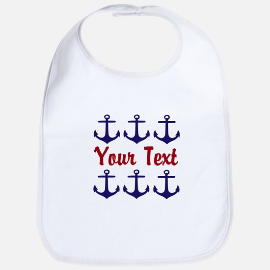 Personalizable Red and Blue Anchors Baby Bib