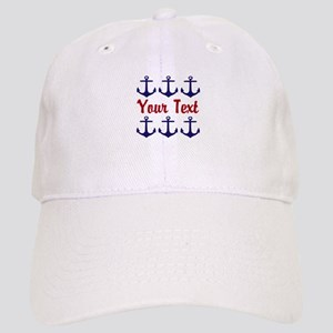 84f48b1c65b54 Navy Gray Nautical Anchor Monogram Button1661173536 Hats - CafePress