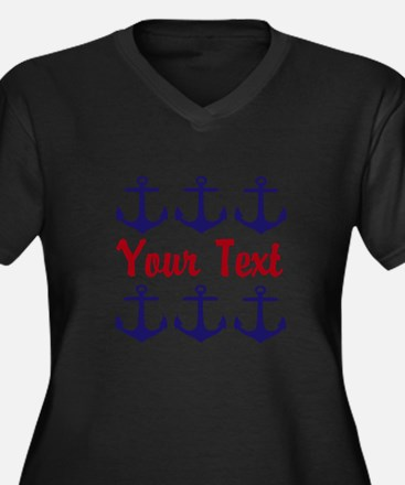 Personalizable Red and Blue Anchors Plus Size T-Sh