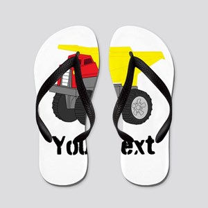 Personalizable Red Yellow Dump Truck Flip Flops