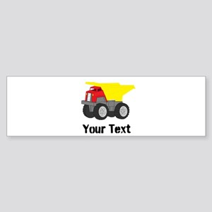 Personalizable Red Yellow Dump Truck Bumper Sticke