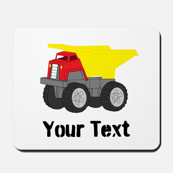 Personalizable Red Yellow Dump Truck Mousepad