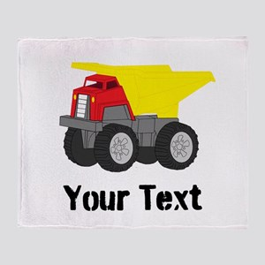 Personalizable Red Yellow Dump Truck Throw Blanket