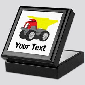 Personalizable Red Yellow Dump Truck Keepsake Box