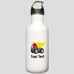 Personalizable Red Yellow Dump Truck Water Bottle