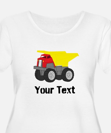 Personalizable Red Yellow Dump Truck Plus Size T-S
